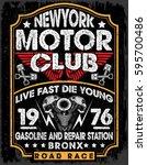 motorcycle label t shirt design ... | Shutterstock .eps vector #595700486