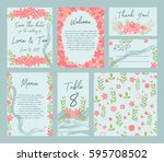 vector set of postcard with... | Shutterstock .eps vector #595708502