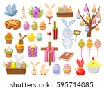 big collection of happy easter... | Shutterstock .eps vector #595714085