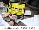 hot news social network concept | Shutterstock . vector #595719518