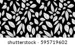 leaves seamless white and black ... | Shutterstock .eps vector #595719602