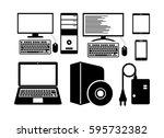 of computer icons. vector... | Shutterstock .eps vector #595732382