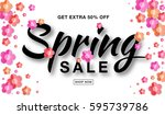 vector spring sale banner with  ... | Shutterstock .eps vector #595739786