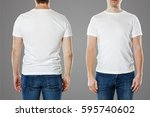 young man with blank t shirt... | Shutterstock . vector #595740602