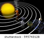 trappist 1 planetary system.... | Shutterstock . vector #595743128