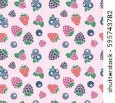 berry fruit background.... | Shutterstock .eps vector #595743782