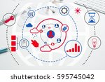 cloud computing and networking... | Shutterstock . vector #595745042