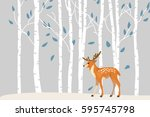 deer in forest vector cartoon... | Shutterstock .eps vector #595745798