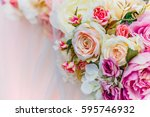 bouquet of flowers  wedding... | Shutterstock . vector #595746932