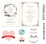 ornate wedding cards with... | Shutterstock .eps vector #595758962