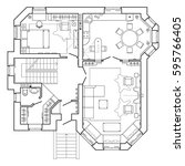 black and white floor plan of a ... | Shutterstock .eps vector #595766405