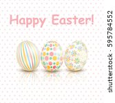 colorful happy easter greeting... | Shutterstock .eps vector #595784552