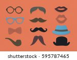 glasses pipe moustache hat... | Shutterstock . vector #595787465