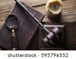 vintage law concept top view | Shutterstock . vector #595796552