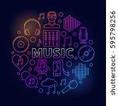 music dark round illustration.... | Shutterstock .eps vector #595798256