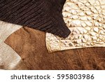 various leathers background | Shutterstock . vector #595803986