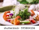 gourmet salad with shrimp  macro | Shutterstock . vector #595804106
