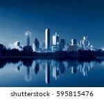 dallas skyline reflection at...   Shutterstock . vector #595815476