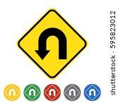 left u turn ahead icon set... | Shutterstock .eps vector #595823012
