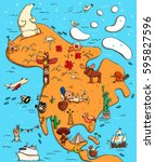 illustrated map of north... | Shutterstock .eps vector #595827596