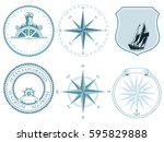 traditional maritime nautical... | Shutterstock . vector #595829888