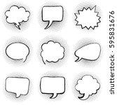 big set of blank template comic ... | Shutterstock .eps vector #595831676