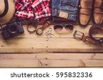 travel clothing accessories... | Shutterstock . vector #595832336