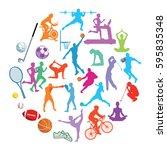 sport action illustration... | Shutterstock . vector #595835348