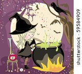 witch stirring a potion in... | Shutterstock .eps vector #59584909
