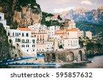 beautiful mediterranean... | Shutterstock . vector #595857632