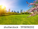 central park at spring sunny... | Shutterstock . vector #595858202