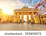 brandenburg gate at spring ... | Shutterstock . vector #595859072