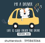 driver tiger illustration... | Shutterstock .eps vector #595865066