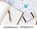modern white office desk white... | Shutterstock . vector #595865252