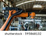 industrial picking robot in... | Shutterstock . vector #595868132