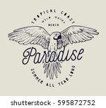 paradise parrot vintage label... | Shutterstock .eps vector #595872752