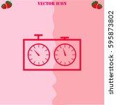 chess clock vector  icon....   Shutterstock .eps vector #595873802
