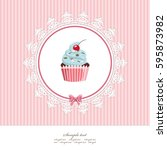 greeting card template with... | Shutterstock .eps vector #595873982