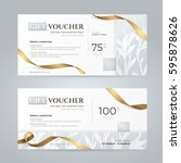 set of luxury gift vouchers... | Shutterstock .eps vector #595878626