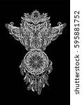 hand drawn ornate spiritual... | Shutterstock .eps vector #595881752
