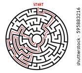 circle maze with solution.... | Shutterstock .eps vector #595883216
