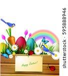 wooden board on a lawn | Shutterstock .eps vector #595888946