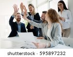 successful company achieving... | Shutterstock . vector #595897232
