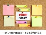 sticky note on cork board... | Shutterstock . vector #595898486