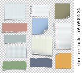 set of various notes paper on... | Shutterstock .eps vector #595900535