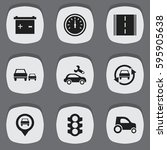 set of 9 editable car icons.... | Shutterstock .eps vector #595905638