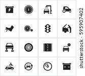 set of 16 editable transport... | Shutterstock .eps vector #595907402