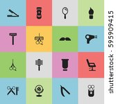 set of 16 editable barber icons....