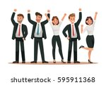 success business man and girl... | Shutterstock .eps vector #595911368