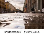 streets in the late autumn  the ... | Shutterstock . vector #595912316